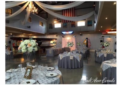 Wedding Venue Setup Inside Airplane Hangar